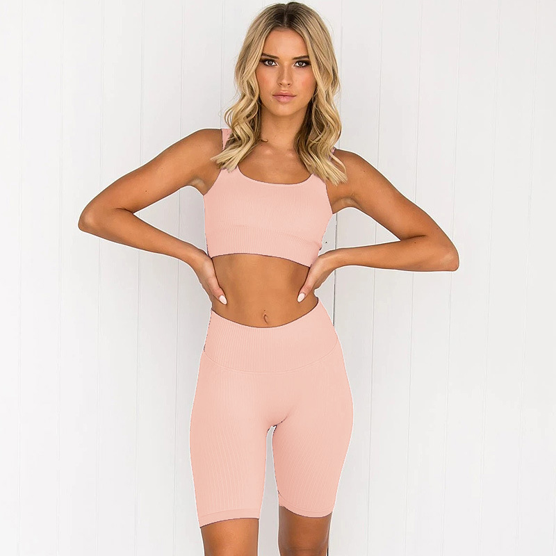SUSSURRO Womens Workout 2 Piece Set Athletic Seamless Yoga Outfit Sports Cami Bra with Biker Shorts