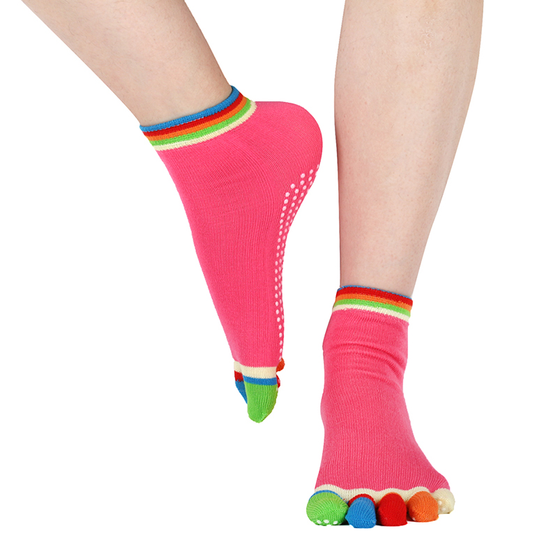 Women Sports Yoga Socks Non-slip Pilates Five Fingers Silicone 5 Toe Sock Ballet Gym Fitness Winter Colorful Cotton Grip Socks