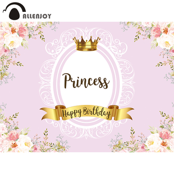 Allenjoy Birthday Backdrop for Girl Princess Party Banner Flowers Leaves Crown Decoration Event Background Vinyl Photo Studio image