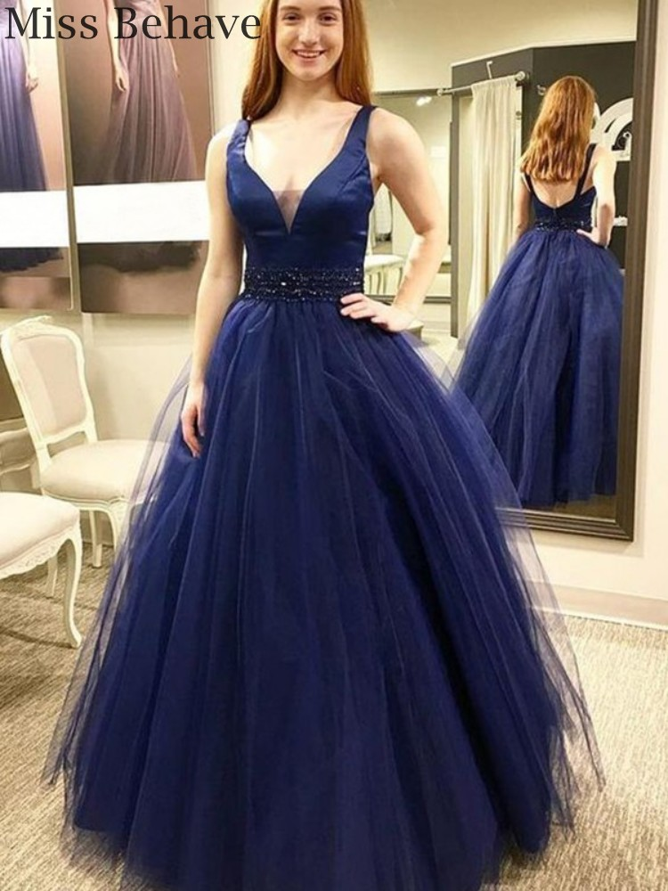 DD JYOY Elegant V Neck Ball Gown Evening Dress Long Open Back Fancy Beaded Tulle Formal Women Evening Gown Party
