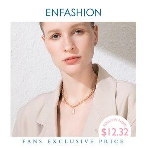 Image 1 - Enfashion boho concha corrente colar feminino ouro cor instrução natural mãe de pérola colares de aço inoxidável jóias p193025