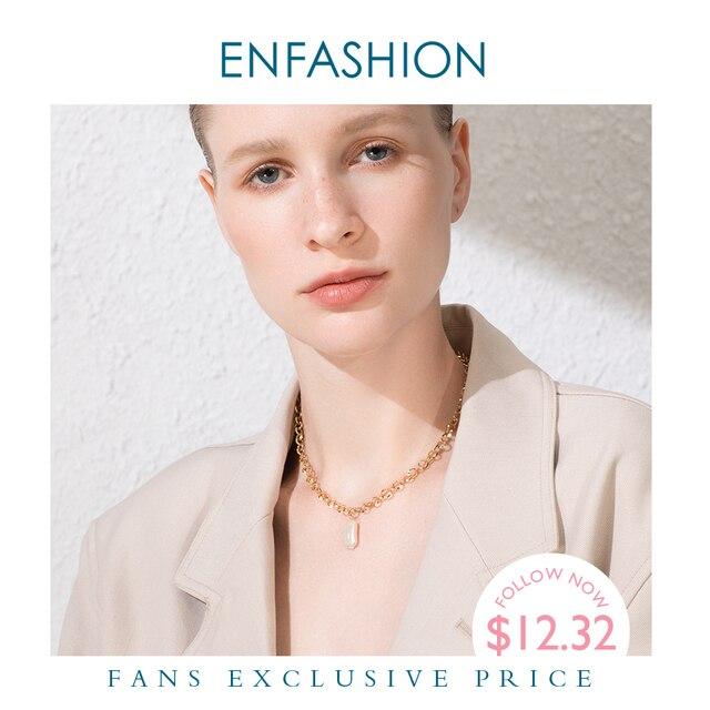 Enfashion boho concha corrente colar feminino ouro cor instrução natural mãe de pérola colares de aço inoxidável jóias p193025