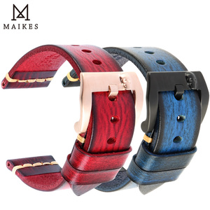Image 2 - MAIKES Handmade włoska skóra zegarek pasek 18mm 19mm 20mm 21mm 22mm 24mm zegarek w starym stylu pasek dla Panerai Omega IWC Watchband