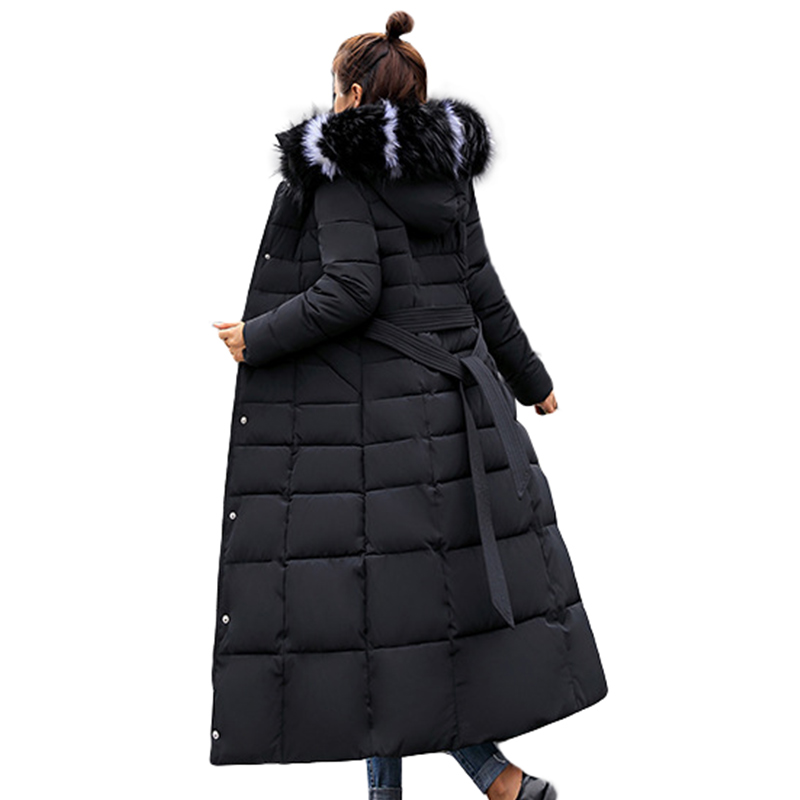 Long Woman Parkas Fashion Winter Women Thick Parka Female Slim Fur Winter Warm Cotton Coat For Women Chaqueta Mujer Fur Collar image