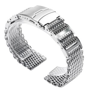 Image 5 - 20mm 22mm 24mm Luxury Shark Mesh Watch Band Strap Stainless Steel Replacement Folding Clasp with Safety Silver+ 2 Spring Bars