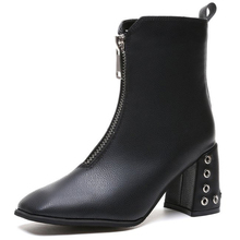 XZ054 New PU Leather Ankle Boots For Women Thick Square Heel Spring Autumn Women Shoes High Heels Women Boots Zipper Lady Boots 2018 spring autumn newest women boots high thick heels knee high square toe rivet decoration women leather dress boots black
