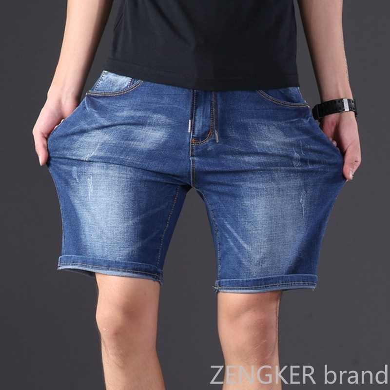 Extra grande tamanho masculino denim shorts grandes cintura elástica na altura do joelho verão solto shorts masculinos plus size 9xl 8xl 7xl 6xl