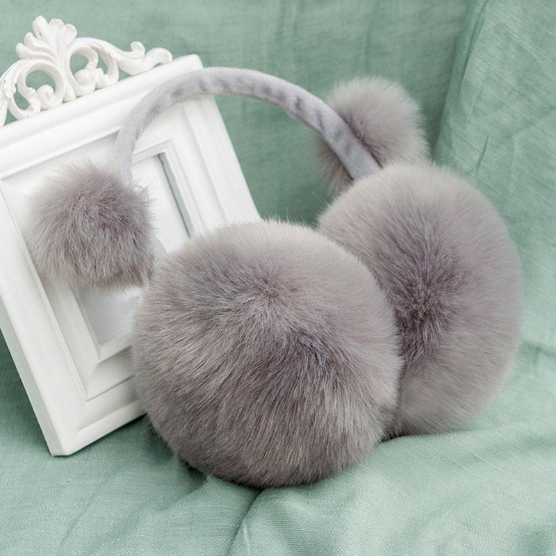 Men Women Solid Faux Fur Plush Earmuffs Adjustable Ear Warmer Ear Muffs Winter