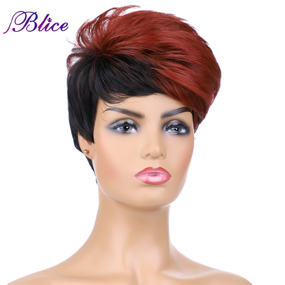 Blice Synthetic Wigs Mix Color FT2/BUG 6Inch Short Nature Wave Kanekalon Full Machine Wig For Women