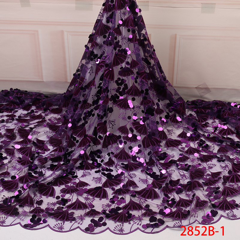 2019 African Lace Fabric Nigerian French Lace French Lace Luxury High Quality 3D Sequins Lace Fabric For Wedding YA2852B-1