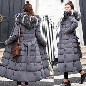 Image 1 - חורף נשים למטה מעיל ארוך סלעית אופנה שלג בגדים חם כותנה מרופדת ארוך שרוול מעיילים למטה מעיל עבור נקבה #734