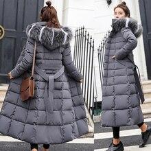 Chaqueta de plumón larga con capucha para mujer, ropa de nieve a la moda, Parkas de manga larga con relleno de algodón cálido, abrigo para mujer #734