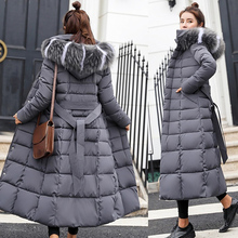 Inverno feminino para baixo casaco longo com capuz moda roupas de neve quente algodão acolchoado manga longa parkas para baixo casaco feminino #734