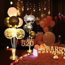 Decoração do chuveiro do bebê balão coluna suporte de aniversário brilhante balão coluna confetes balão festa de casamento decoração do dia dos namorados