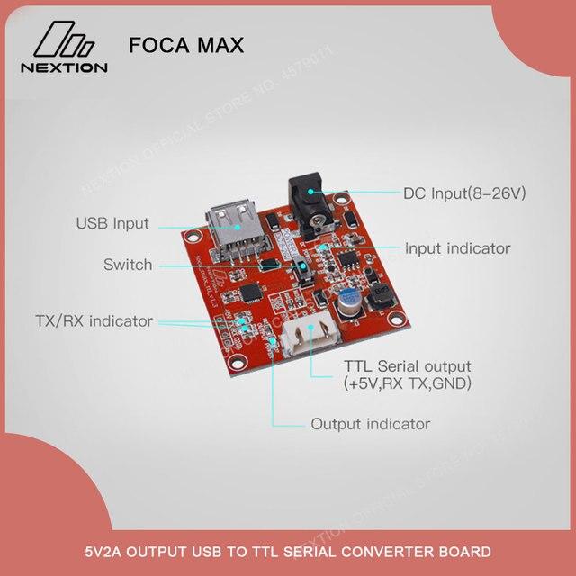 NEXTION Foca Max    placa Convertidora de Serie USB a TTL, salida 5V2A, comunicación USB a TTL para Módulo de pantalla LCD HMI de Nextion