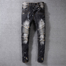 2019 new brand Men's Moto Pants Ripped Oiled Washed Black Skinny Denim Biker Jeans Stretch Slim Trousers Size 29-42 new brand designer knee ripped biker jeans men distressed moto denim joggers washed pleated leg yellow line decorate jeans pants