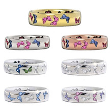 2020 Fashion Creative Butterfly Colorful Wedding Rings for Women Elegant Multicolor Zircon Glamour Ring Jewelry Girl Gift Bijoux cutout butterfly colorful wedding 925 sterling silver rings for women elegant multicolor zircon ring jewelry girl gift bijoux
