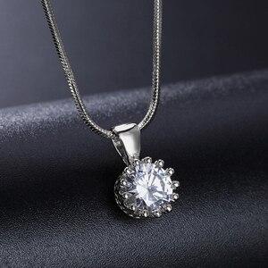 Бренд Double Fair, Уникальные ожерелья и подвески с короной из кубического циркония, Цвет Белый/розовое золото, цепочка, модные ювелирные изделия для женщин, DFN390