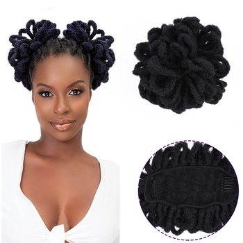 Afro Puff Dreadlocks Chignon Wig Drawstring Ponytail Short Afro Pony Tail Clip In on African Synthetic Hair Bun HairPieces afro vegan