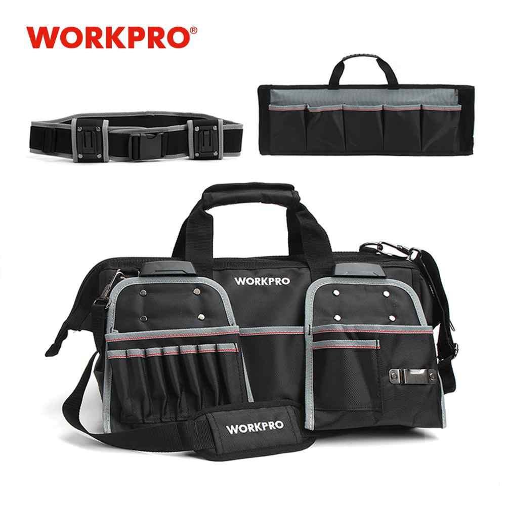 """WORKPRO 18 """"сумка для инструментов, сумка для инструментов 1680D с широким горлом, водонепроницаемая сумка для хранения, вместительные сумки"""