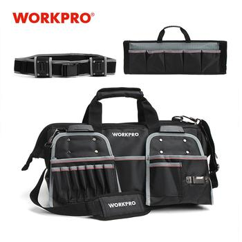 "WORKPRO 18"" Tool Bags Belt Tool Pouch 1680D Close-top Wide-Mouth Storage Bag Waterproof Bags Large Capacity Bags"