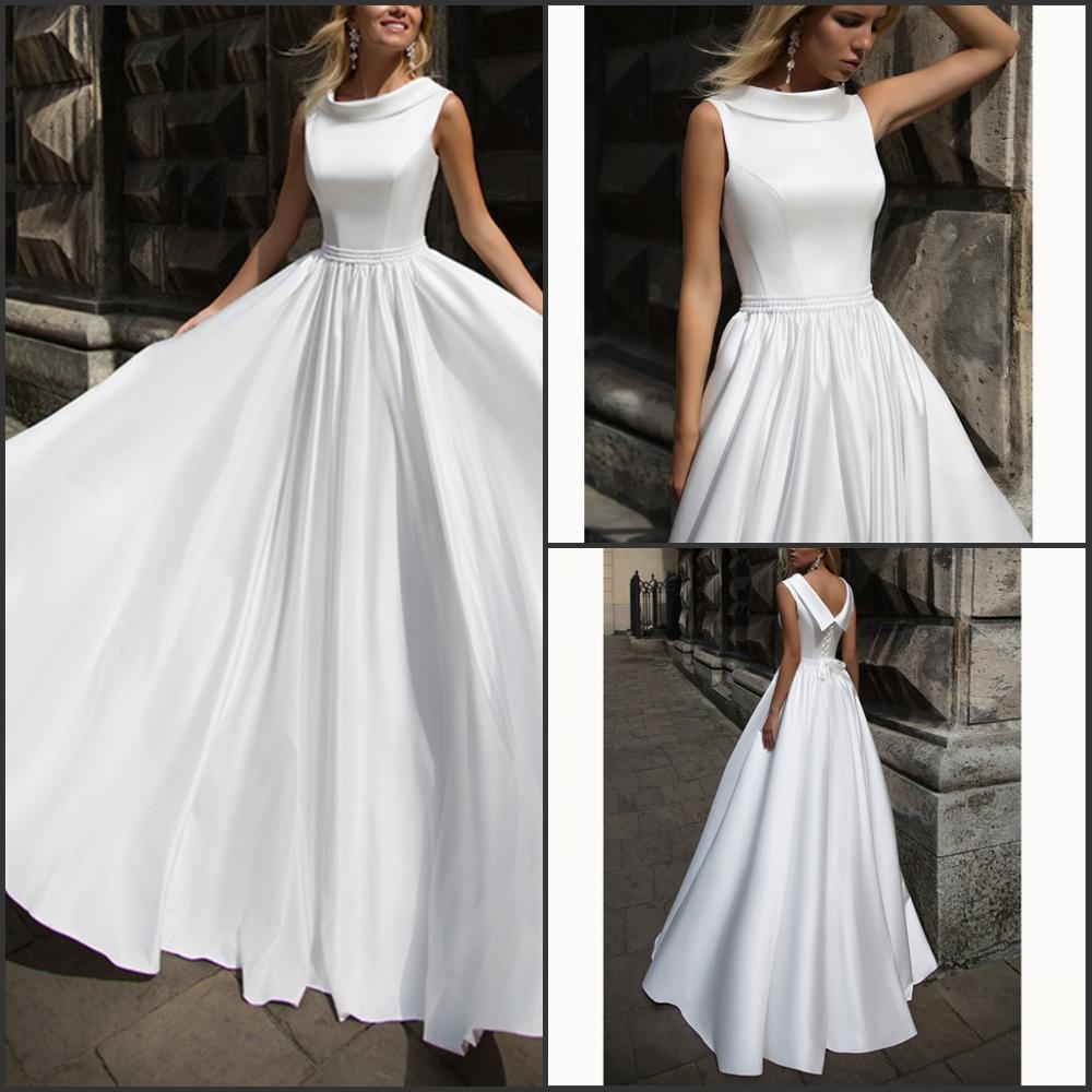 Vestido De Noiva White Lace-Up Backless Handworks Beading Pearls Ruched Dropped Wedding Dresses 2019 Vestido De Noiva Sereia