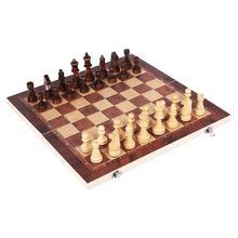Hot 3 in 1 Wooden Chess Game Set Backgammon Checkers Folding Wooden Chessboard Indoor Travel Chess Wood Pieces Chessman I63