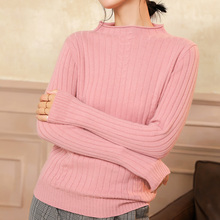 2019 winter new women sweater round neck curling solid color cashmere slim slimming wild ladies