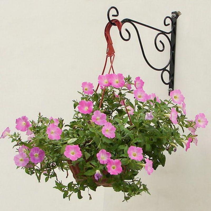 Garden Decoration European Style Balcony Plant Flower Pot Wrought Iron Hooks Holder Wall Mounted Hanging Basket Bracket