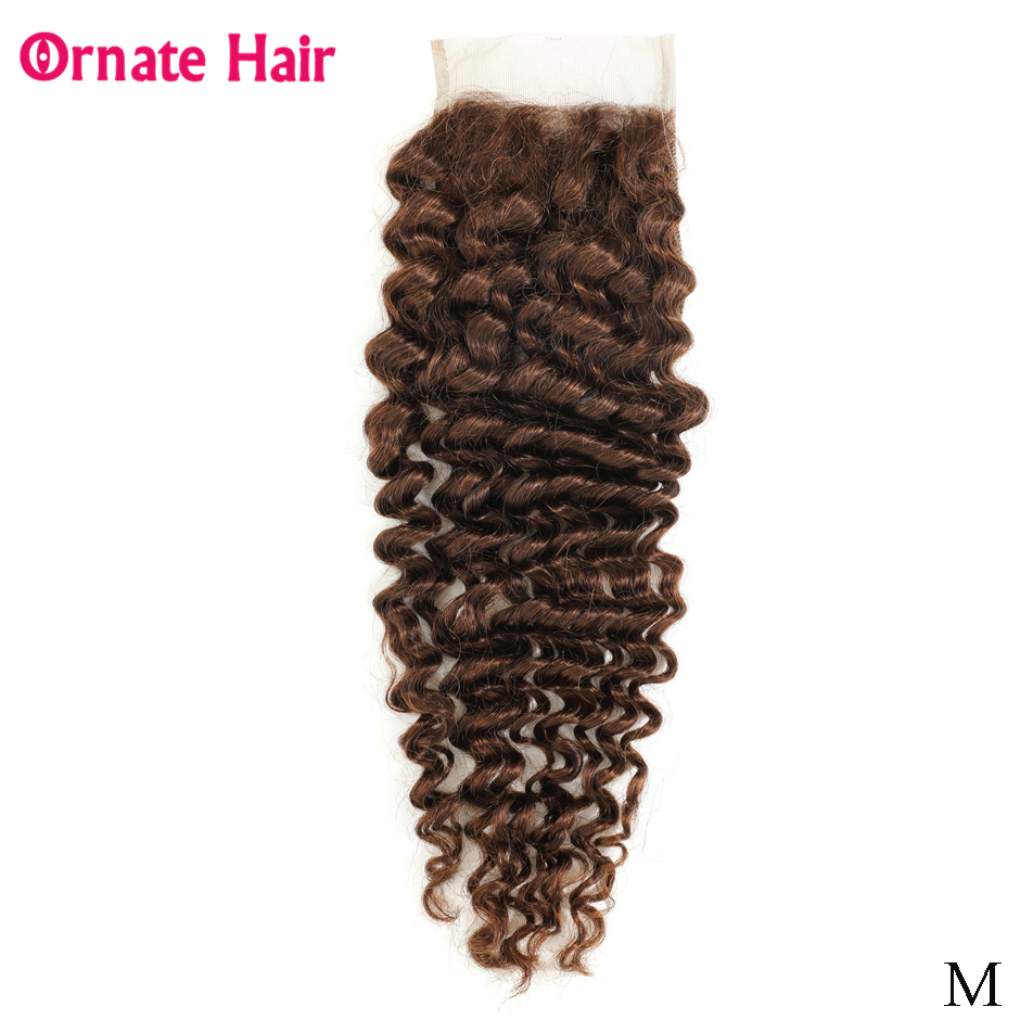 Ornate Hair Pre-Colored Closure 4x4 Malaysian Deep Wave Lace Closure Non-Remy Human Hair Free Part Closure Middle Ratio