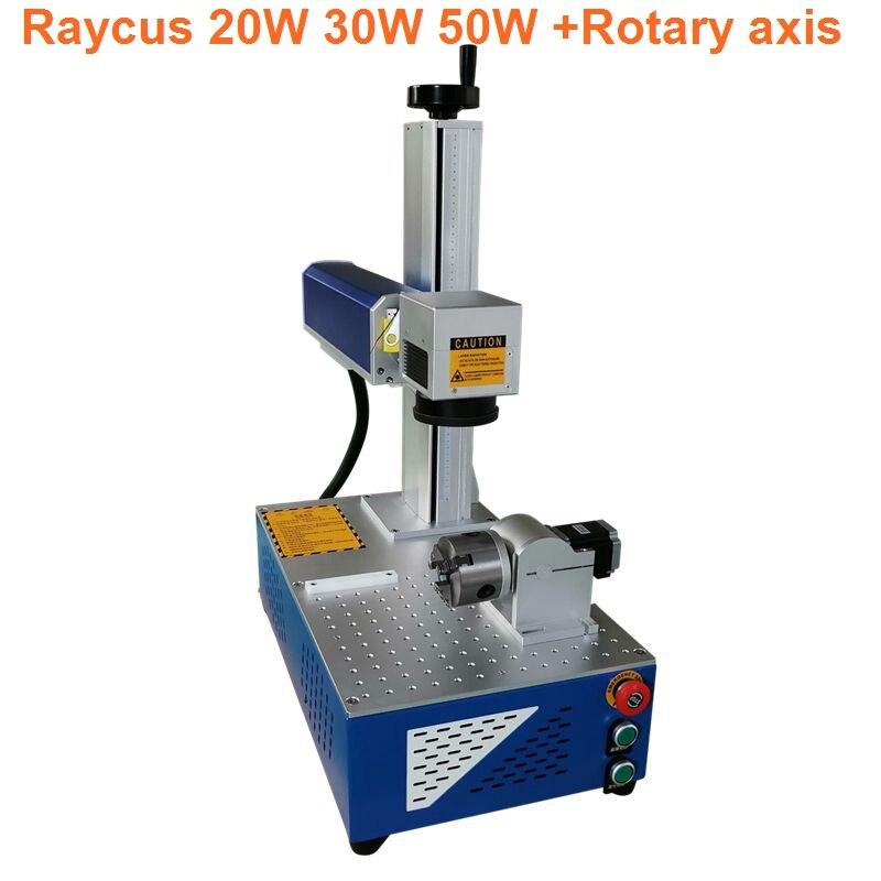 Rotatif attaché raycus 20w 30W fibre métallique tout en un laser machine de marquage 110*110mm 150*150mm table de travail