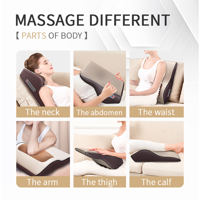 3 in 1 Newest Massage Pillow with Car Home Duel Use Easy Carry Neck Back Shoulder Waist Body Massager Gift Relief Pain EU plugs 1