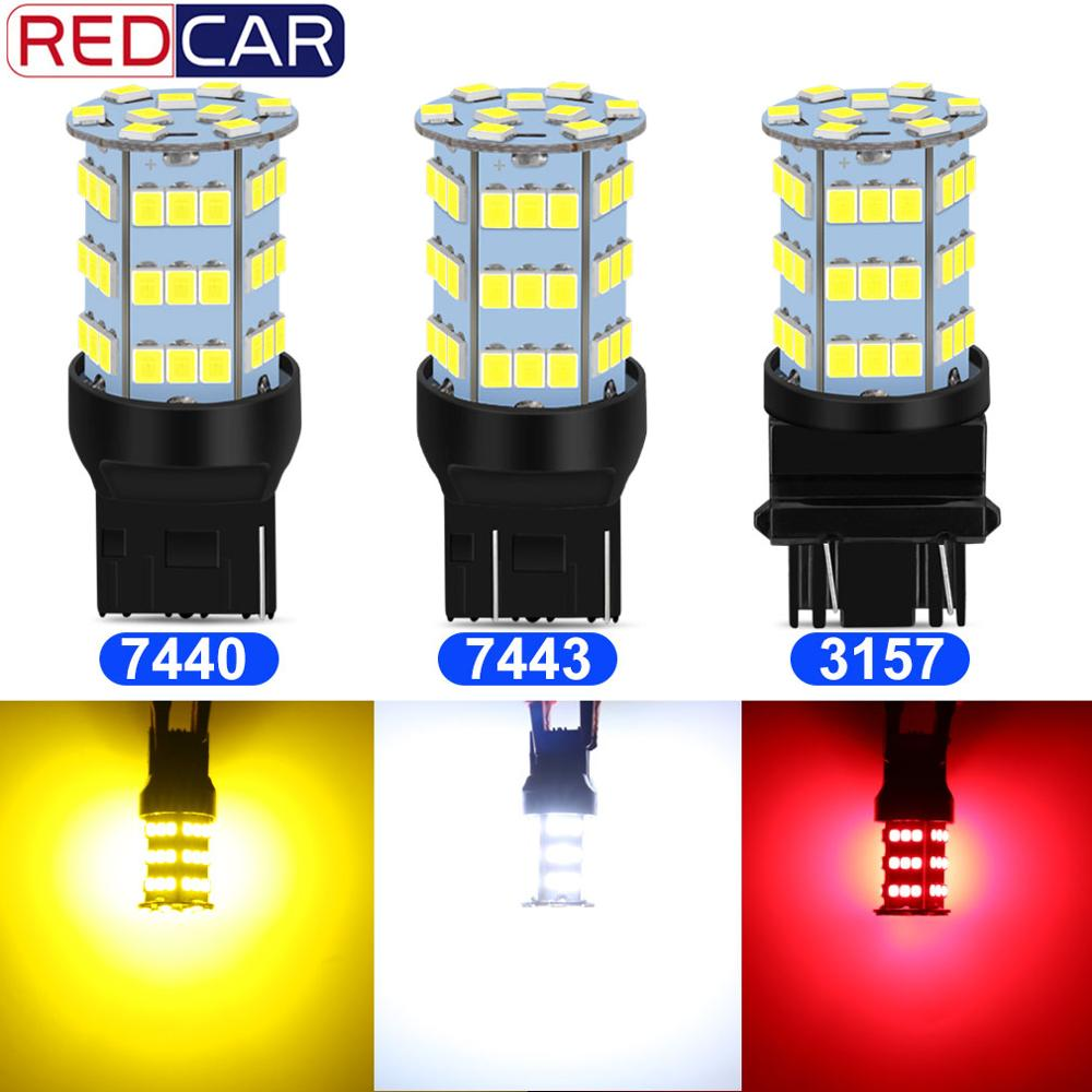 2pcs <font><b>T20</b></font> <font><b>7440</b></font> 7443 W21W WY21W Super Bright <font><b>Led</b></font> 54SMD 2835 Chips T25 3157 Auto Backup Reverse Lamp Car Tail Bulb Stop Light 6000K image