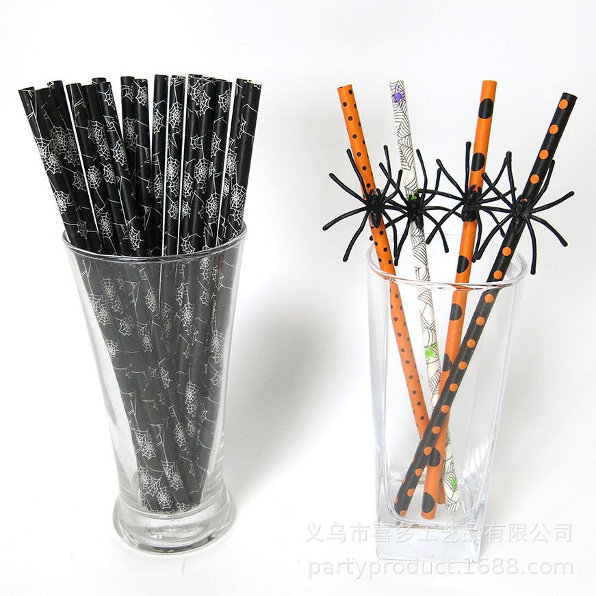 Halloween Color Spider Dotted Paper Sucker Environmentally Friendly Paper Orange Black And White With Pattern Party Beverage Dec