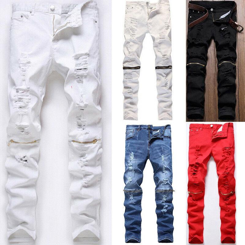 Men Skinny Slim Jeans Long Pants Knee Zipper Denim Jeans Man Solid Destroyed Pole Frayed Pencil Pants Size 28-38