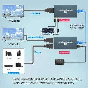 Image 2 - 2021 przedłużacz HDMI KVM przedłużacz przez IP RJ45 sieć Ethernet przedłużacz KVM USB HDMI 200M przez przedłużacz UTP/STP KVM CAT5 CAT6