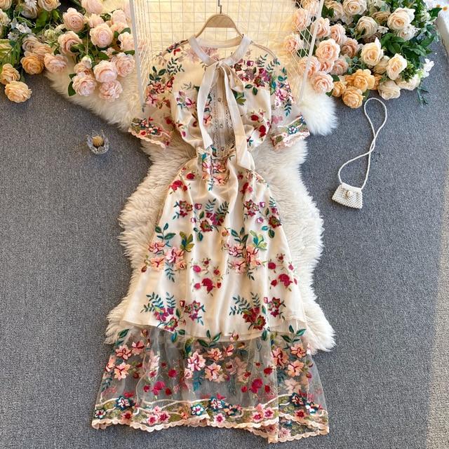 Women 2021 New Fashion Contrast Bow Round Neck Short Sleeve Slim Embroidery Flower A-line Dress Elegant Vestidos De Mujer R322 3