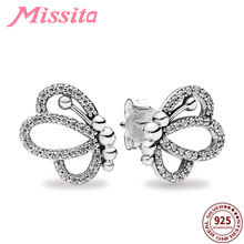 MISSITA 100% 925 Sterling Silver Butterfly Dream Exquisite Stud Earrings for Women Jewelry Wedding Anniversary Gift
