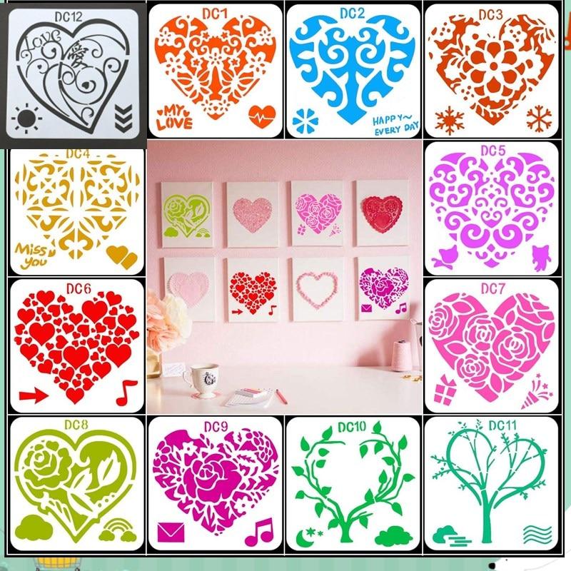 12Pcs Flower Heart Drawing Molds Plastic Children Painting Stencils DIY Paper Art Craft Card Label Scrapbook Bookmark Educationa