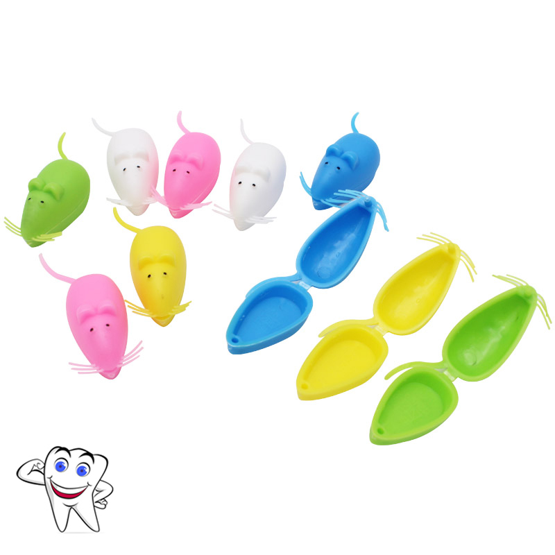 10PCS Baby Tooth Box Organizer Mouse Plastic Milk Teeth Storage Box Save Collect First Tooth Gift For Boy Girl Random Color