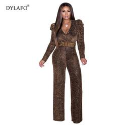 Sexy Jumpsuit Long Sleeves Wide Leg Deep V Neck Women Golden Glitter with Sashes Female Slim Lage Size Romper Elastic Playsuits