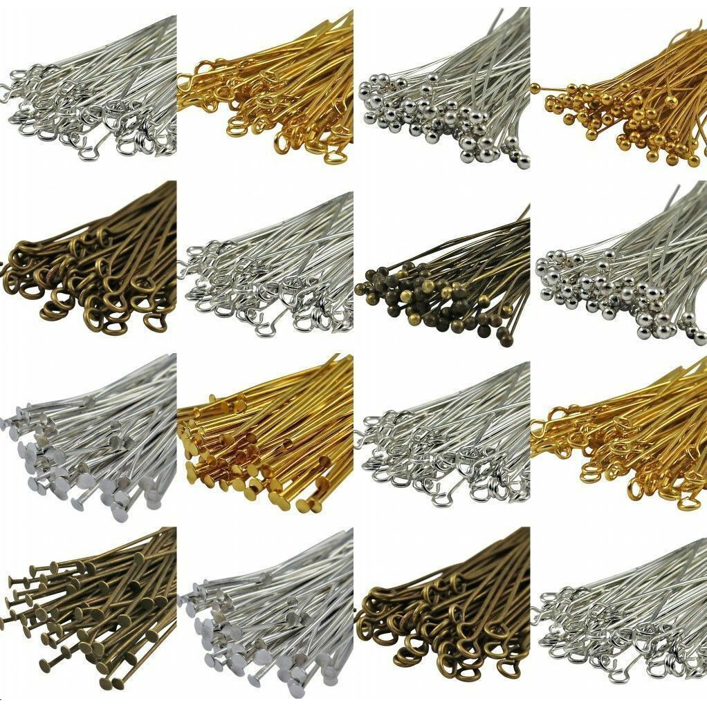 100Pcs Metal Pins Finding Jewelry Making Components Gauge Many Style Headpins Eyepins Ballpins For DIY Beads Bracelets