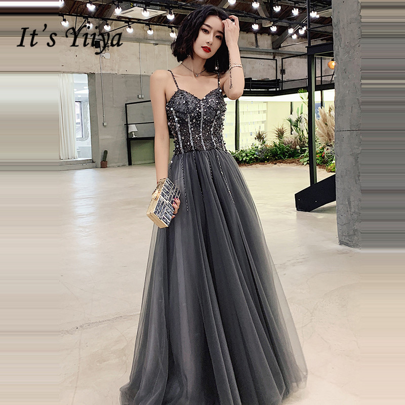 It's Yiiya Evening Dress Elegant Sequins Shining Women Party Night Dresses Boat Neck Sleeveless Plus Size Robe De Mariee E756