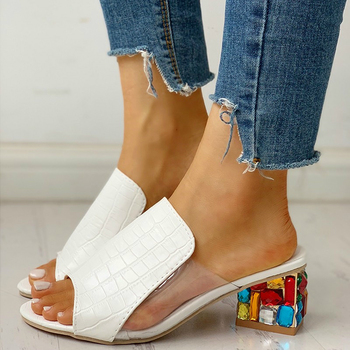 цена на Summer Women Slipper Crystal Peep Toe Print Bohemian Casual Shoes Beach Sandals Ladies Shoes Platform Mules Sandalias De Mujer