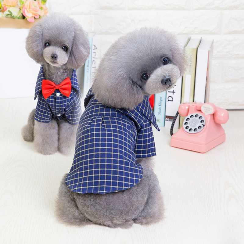 Plaid Dogs Shirt Autumn Western Red Bow tie Pets Gentlemen Shirts For Small Dog Costume Decoration