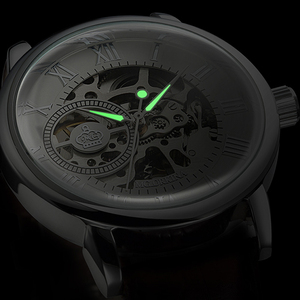 Image 3 - 2020 חדש מותג MG ORKINA שעוני גברים שעונים רצועת עור מכאני שעוני יד כסף שלד חלולה שקופה עיצוב