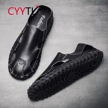 CYYTL 패션 남자 샌들 정품 가죽 바느질 신발 야외 비치 스 니 커 즈 여름 슬리퍼 남성 Sandale 옴므 발가락 모자