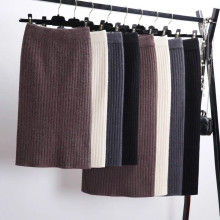 60-80CM elastic band ladies skirt autumn and winter warm knitted straight ribbed split long