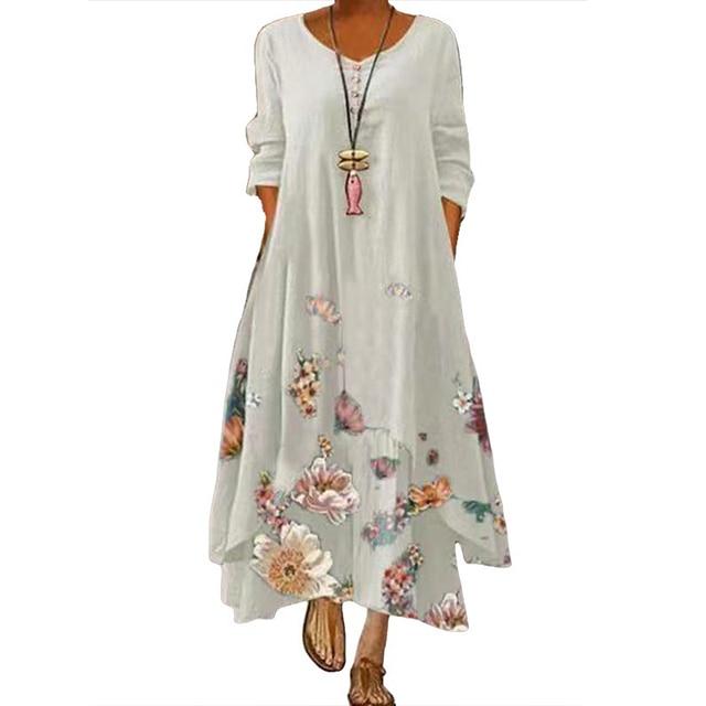 MOVOKAKA Spring Summer Long Dress Robe Long Sleeve Dress Party Dresses Women Casual Sundress Vintage Maxi Dresses For Women 2021 5
