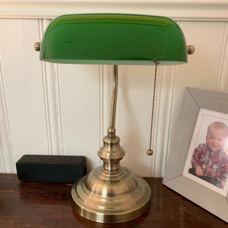 EASY-Green color GLASS BANKER LAMP COVER/Bankers Lamp Glass Shade lampshade